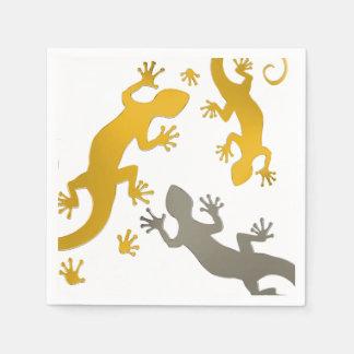 Serviettes Jetables Argent courant d'or de Gecko + votre arrière -