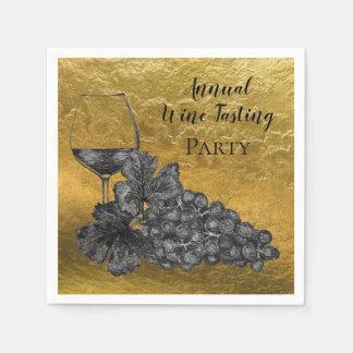 Serviettes Jetables Arrière - plan d'or de raisins en verre de vin