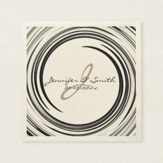 Serviettes Jetables Art abstrait de remous de noir de monogramme