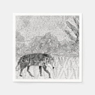 Serviettes Jetables Art d'animal sauvage de croquis de loup