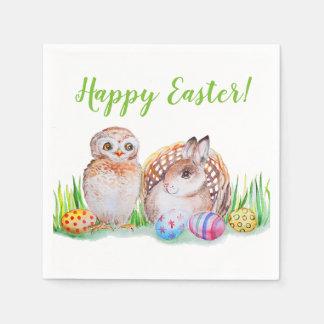 Serviettes Jetables Art de Pâques de hibou et de lapin