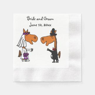 Serviettes Jetables Art drôle de mariage de jeunes mariés de cheval