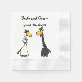 Serviettes Jetables Art drôle de mariage de jeunes mariés de girafe