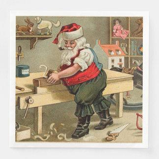 Serviettes Jetables Atelier vintage de Noël du père noël