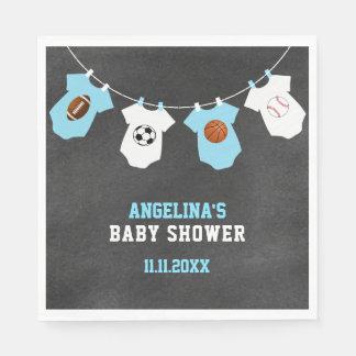 Serviettes Jetables Baby shower de garçon bleu de tableau de thème de