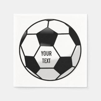 Serviettes Jetables Ballon de football personnalisé avec le texte fait