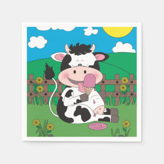 Serviettes Jetables Bande dessinée mignonne de vache à bébé avec son