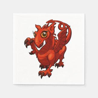 Serviettes Jetables Bande dessinée rouge de dragon de petit bébé