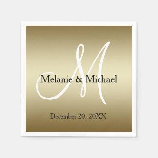 Serviettes Jetables Blanc d'or personnalisé épousant les serviettes de