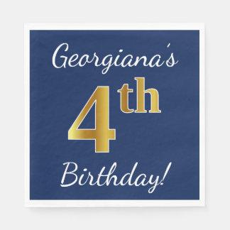 Serviettes Jetables Bleu, anniversaire d'or de Faux 4ème + Nom fait