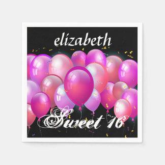 Serviettes Jetables Bonbon 16 ballons roses A01C d'anniversaire