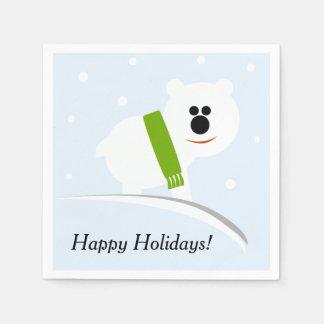 Serviettes Jetables Bonnes fêtes serviettes de papier d'ours blanc de