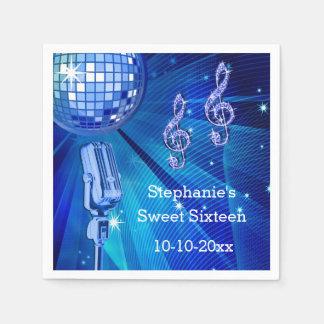 Serviettes Jetables Boule bleue et rétro bonbon 16 de disco à