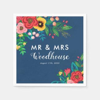 Serviettes Jetables Bouquet folklorique - M. et Mme bleus Wedding de