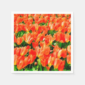 Serviettes Jetables Champ orange des tulipes