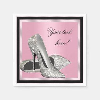 Serviettes Jetables Chaussures roses de talon haut