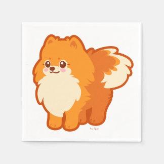 Serviettes Jetables Chien de bande dessinée de Kawaii Pomeranian