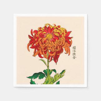 Serviettes Jetables Chrysanthème japonais vintage. Rouille et orange