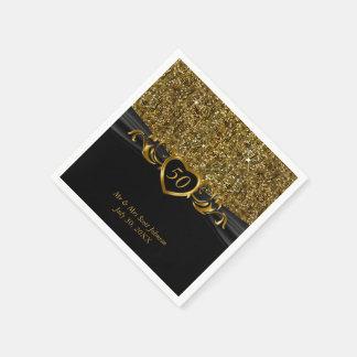 Serviettes Jetables cinquantième Anniversaire de mariage d'or