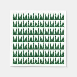 Serviettes Jetables Conception colorée verte de motif de l'arbre | de