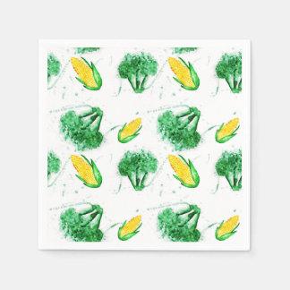 Serviettes Jetables Copie d'aquarelle de maïs et de brocoli avec le