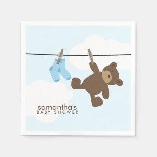 Serviettes Jetables Corde à linge de bébé bleu et ours de nounours