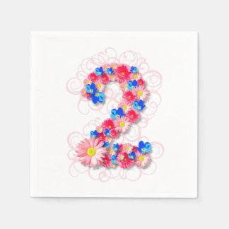Serviettes Jetables De bébés fleur rose deux de 2ème anniversaire en
