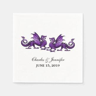 Serviettes Jetables Dragons élégants pourpres épousant les serviettes