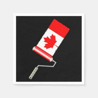 Serviettes Jetables Drapeau de rouleau de peinture du Canada