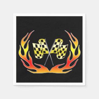 Serviettes Jetables Drapeau et flammes Checkered d'or