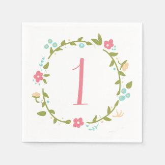 Serviettes Jetables Ęr anniversaire de fille florale de guirlande