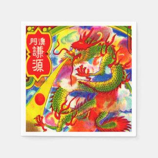 Serviettes Jetables Étiquette vintage chinois de pétard de nouvelle