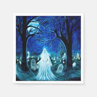 """Serviettes Jetables Fantôme de Halloween dans un cimetière """"après des"""
