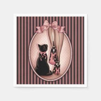 Serviettes Jetables Femme élégante et chat noir