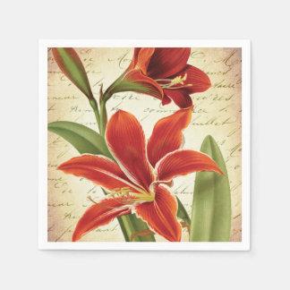Serviettes Jetables Fleur rouge de Noël d'amaryllis botanique