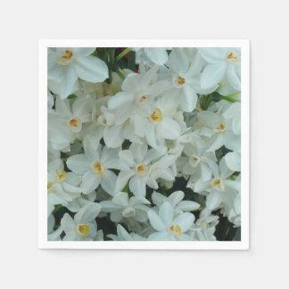 Serviettes Jetables Fleurs blanches sensibles de narcisse de