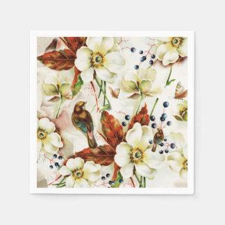 Serviettes Jetables Fleurs de cru de jardin d'oiseau de pays