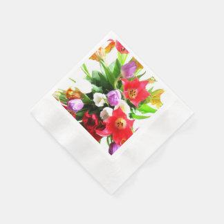 Serviettes Jetables Fleurs romantiques de tulipe