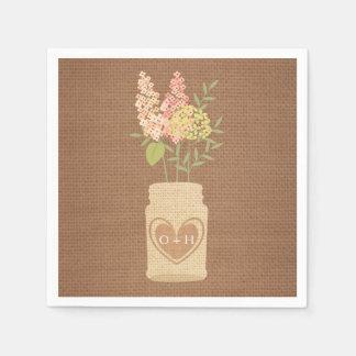 Serviettes Jetables Fleurs rustiques épousant la serviette de papier