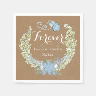 Serviettes Jetables Forever floral de papier d'emballage épousant la