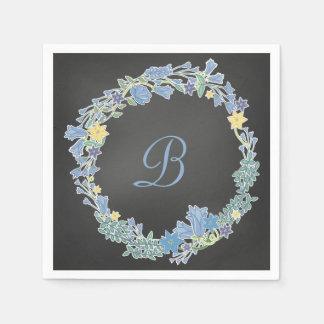 Serviettes Jetables Guirlande florale bleue de Bells épousant les