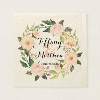 Serviettes Jetables Guirlande florale Wedding-2 d'aquarelle chic