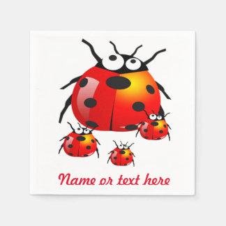 Serviettes Jetables insecte de dame avec des coccinelles de bébé