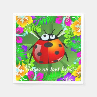 Serviettes Jetables Insecte hawaïen de dame se tenant sur un trèfle de