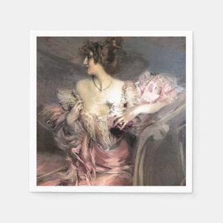 Serviettes Jetables Jolie peinture de Madame Pink Vintage Fashion