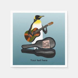 Serviettes Jetables Jouer de la musique drôle de pingouin