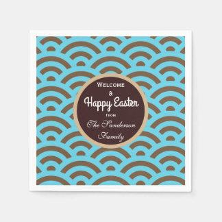 Serviettes Jetables Joyeuses Pâques personnalisées Teal et motif de