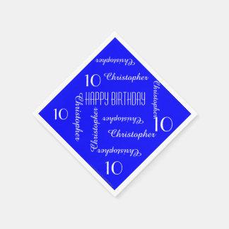 Serviettes Jetables La 10ème répétition de fête d'anniversaire de bleu
