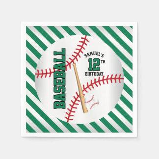 Serviettes Jetables La conception verte | d'anniversaire de base-ball