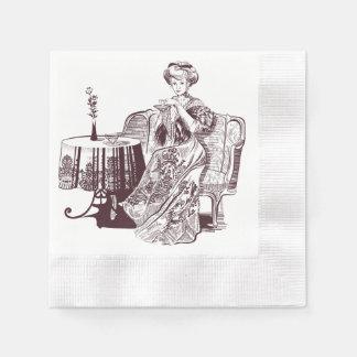 Serviettes Jetables la dame boit du thé